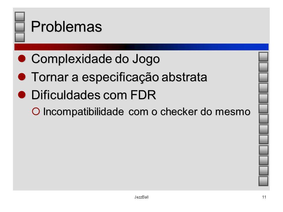 JezzBall11 Problemas Complexidade do Jogo Complexidade do Jogo Tornar a especificação abstrata Tornar a especificação abstrata Dificuldades com FDR Di