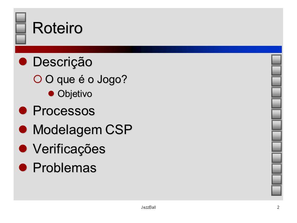 JezzBall2 Roteiro Descrição Descrição  O que é o Jogo? Objetivo Objetivo Processos Processos Modelagem CSP Modelagem CSP Verificações Verificações Pr
