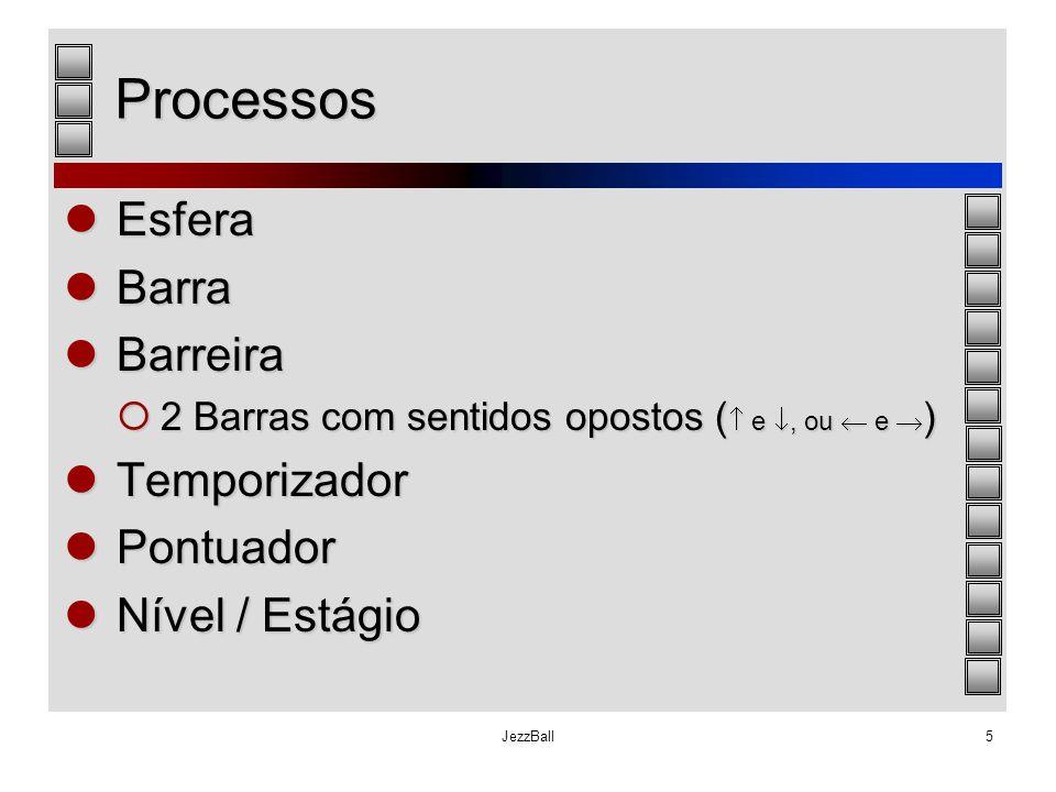 JezzBall5 Processos Esfera Esfera Barra Barra Barreira Barreira  2 Barras com sentidos opostos (  e , ou  e  ) Temporizador Temporizador Pontuado