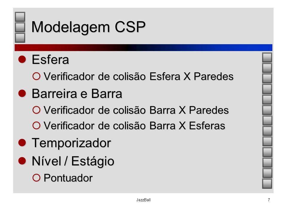 JezzBall7 Modelagem CSP Esfera Esfera  Verificador de colisão Esfera X Paredes Barreira e Barra Barreira e Barra  Verificador de colisão Barra X Par