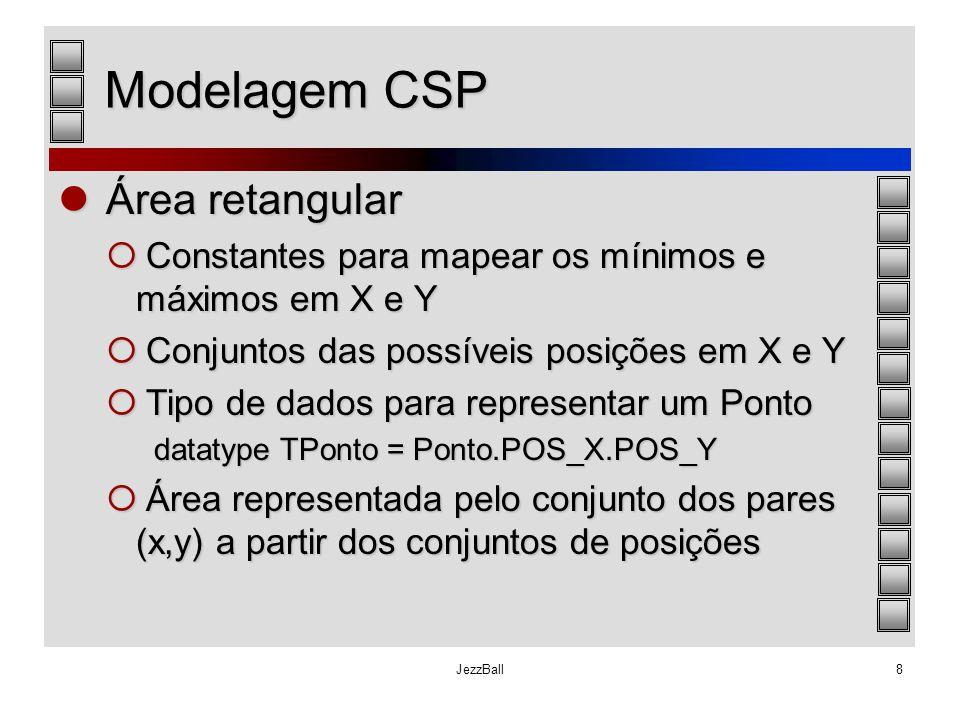 JezzBall8 Modelagem CSP Área retangular Área retangular  Constantes para mapear os mínimos e máximos em X e Y  Conjuntos das possíveis posições em X
