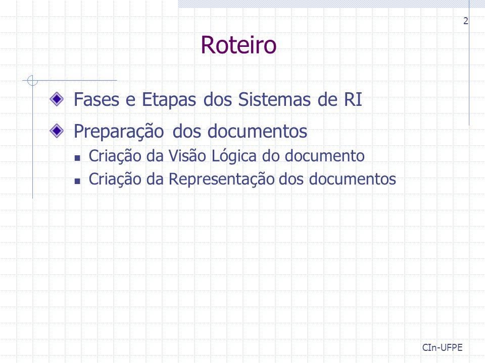 2 Roteiro Fases e Etapas dos Sistemas de RI Preparação dos documentos Criação da Visão Lógica do documento Criação da Representação dos documentos