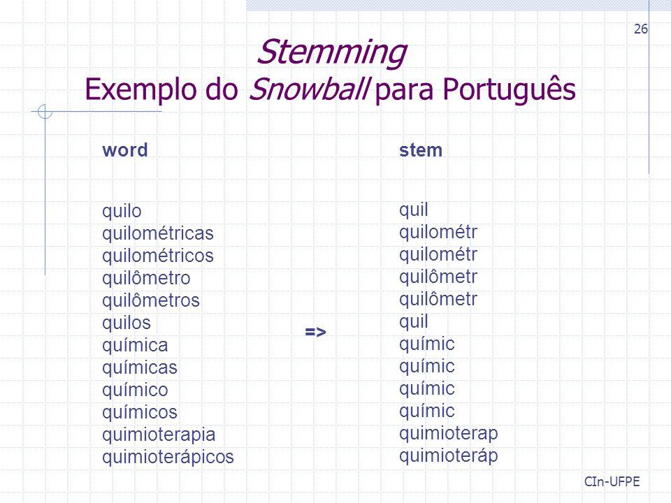 CIn-UFPE 26 Stemming Exemplo do Snowball para Português word stem quilo quilométricas quilométricos quilômetro quilômetros quilos química químicas químico químicos quimioterapia quimioterápicos => quil quilométr quilométr quilômetr quilômetr quil químic químic químic químic quimioterap quimioteráp