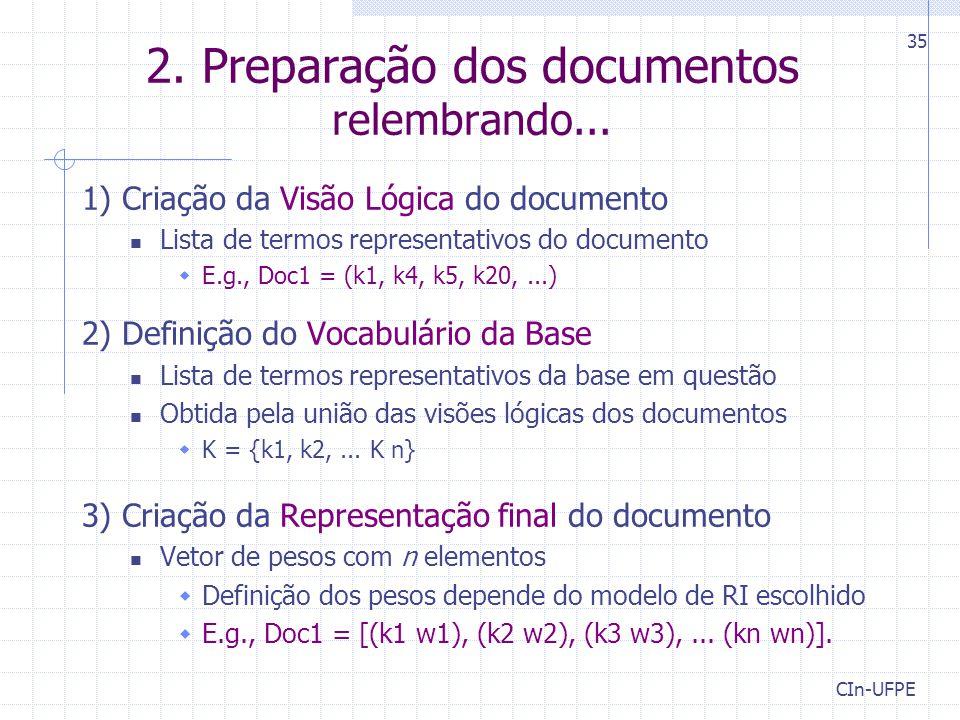 2.Preparação dos documentos relembrando...