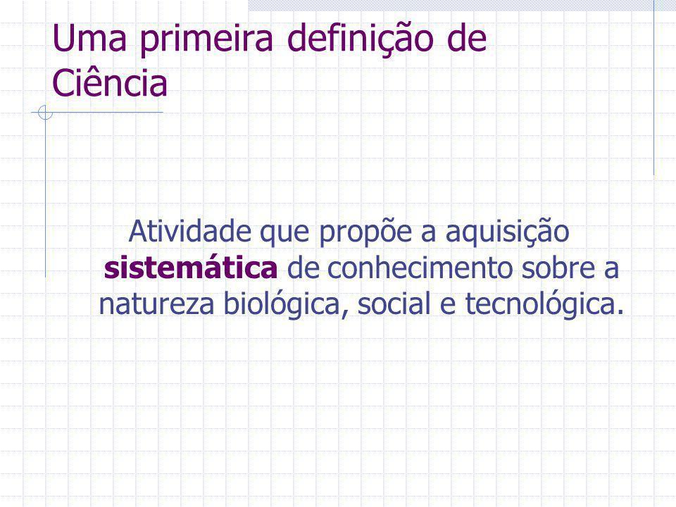 Uma primeira definição de Ciência Atividade que propõe a aquisição sistemática de conhecimento sobre a natureza biológica, social e tecnológica.