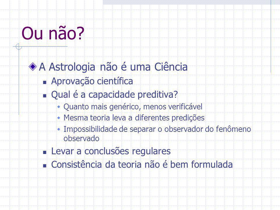 Ou não? A Astrologia não é uma Ciência Aprovação científica Qual é a capacidade preditiva?  Quanto mais genérico, menos verificável  Mesma teoria le