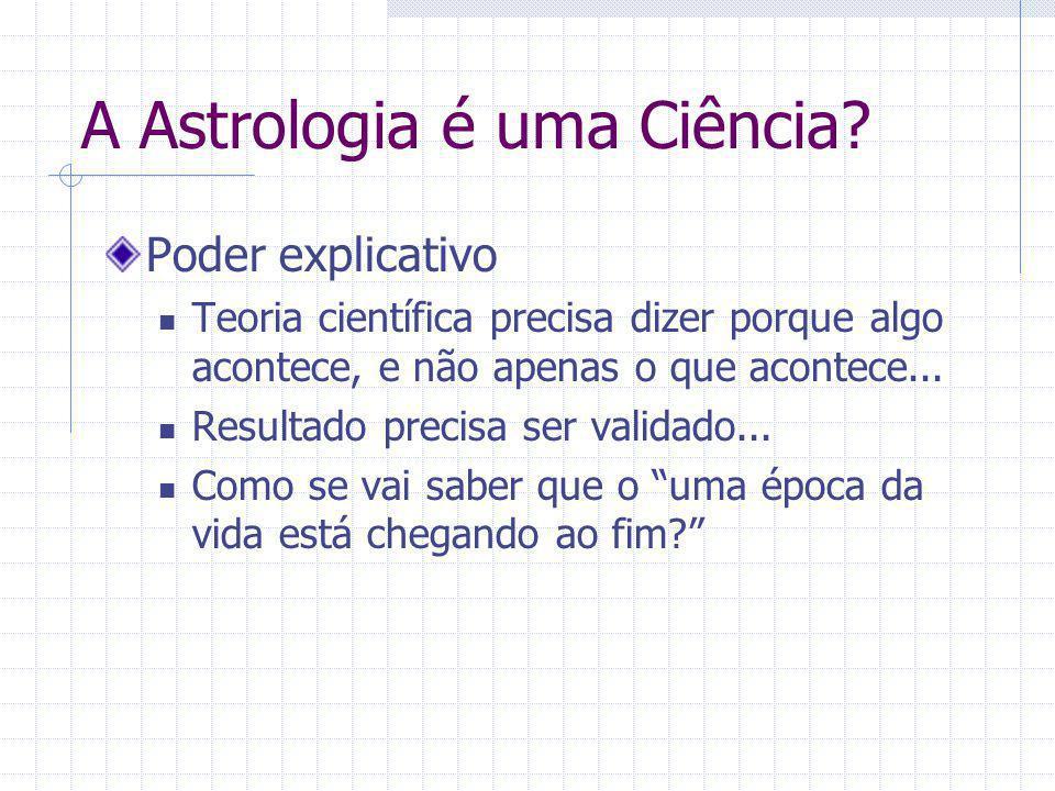 A Astrologia é uma Ciência? Poder explicativo Teoria científica precisa dizer porque algo acontece, e não apenas o que acontece... Resultado precisa s