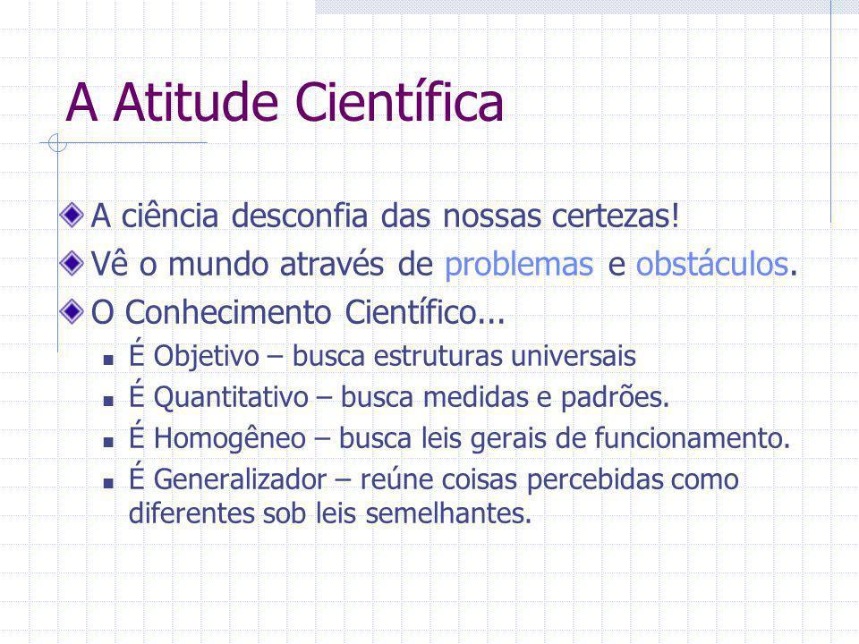 A Atitude Científica A ciência desconfia das nossas certezas! Vê o mundo através de problemas e obstáculos. O Conhecimento Científico... É Objetivo –
