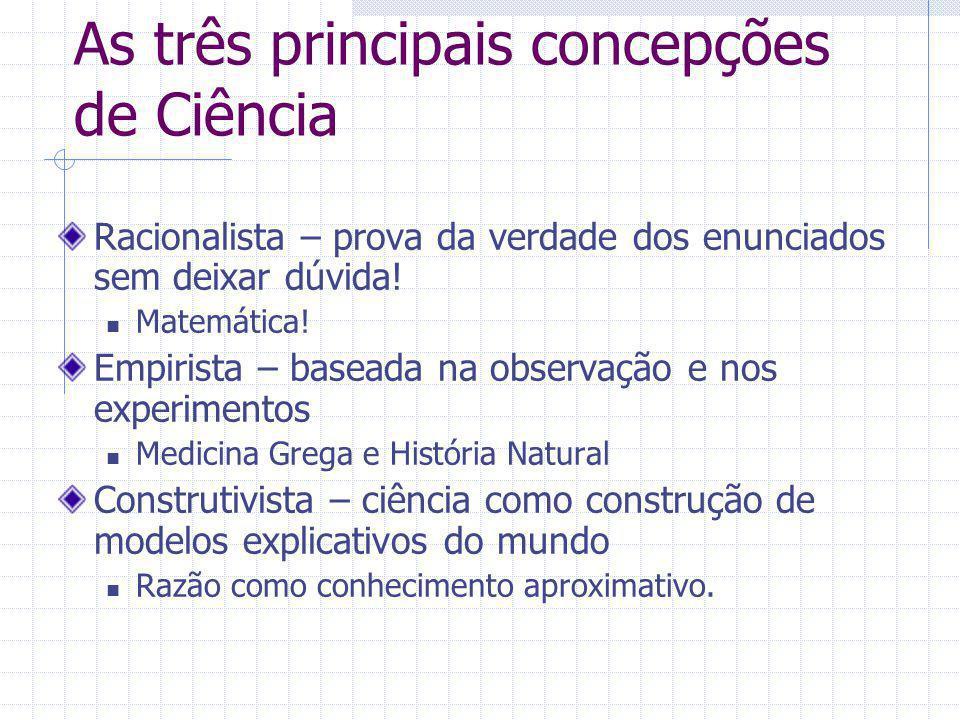 As três principais concepções de Ciência Racionalista – prova da verdade dos enunciados sem deixar dúvida! Matemática! Empirista – baseada na observaç