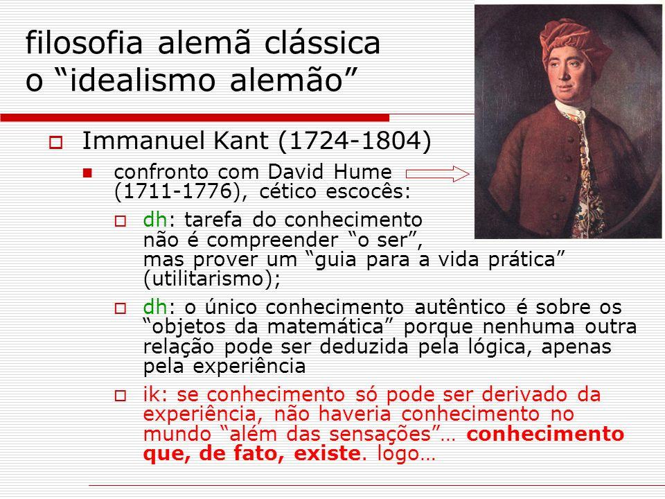 """filosofia alemã clássica o """"idealismo alemão""""  Immanuel Kant (1724-1804) confronto com David Hume (1711-1776), cético escocês:  dh: tarefa do conhec"""