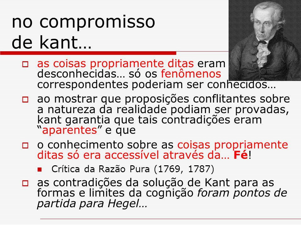 no compromisso de kant…  as coisas propriamente ditas eram desconhecidas… só os fenômenos correspondentes poderiam ser conhecidos…  ao mostrar que p