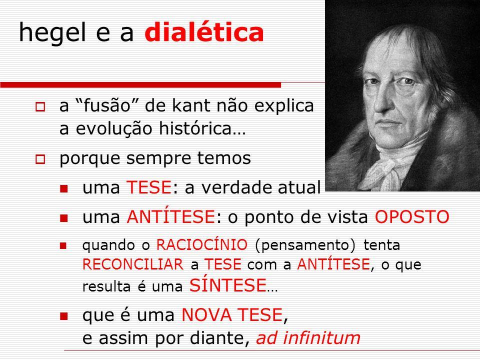 """hegel e a dialética  a """"fusão"""" de kant não explica a evolução histórica…  porque sempre temos uma TESE: a verdade atual uma ANTÍTESE: o ponto de vis"""