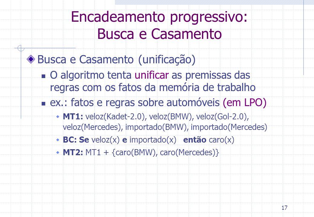 17 Encadeamento progressivo: Busca e Casamento Busca e Casamento (unificação) O algoritmo tenta unificar as premissas das regras com os fatos da memória de trabalho ex.: fatos e regras sobre automóveis (em LPO)  MT1: veloz(Kadet-2.0), veloz(BMW), veloz(Gol-2.0), veloz(Mercedes), importado(BMW), importado(Mercedes)  BC: Se veloz(x) e importado(x) então caro(x)  MT2: MT1 + {caro(BMW), caro(Mercedes)}