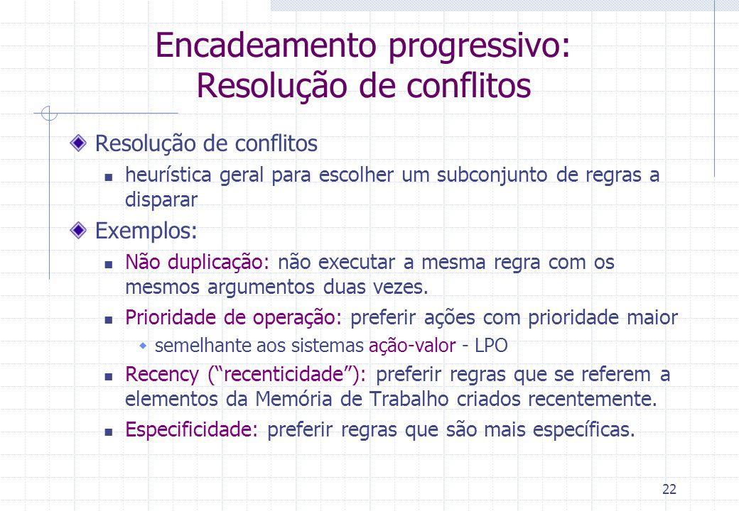 22 Encadeamento progressivo: Resolução de conflitos Resolução de conflitos heurística geral para escolher um subconjunto de regras a disparar Exemplos