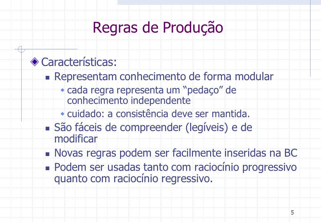 """5 Regras de Produção Características: Representam conhecimento de forma modular  cada regra representa um """"pedaço"""" de conhecimento independente  cui"""