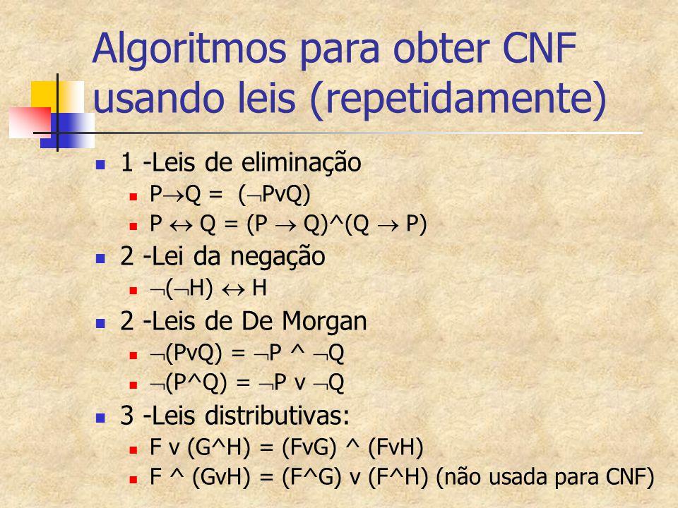 Algoritmos para obter CNF usando leis (repetidamente) 1 -Leis de eliminação P  Q = (  PvQ) P  Q = (P  Q)^(Q  P) 2 -Lei da negação  (  H)  H 2