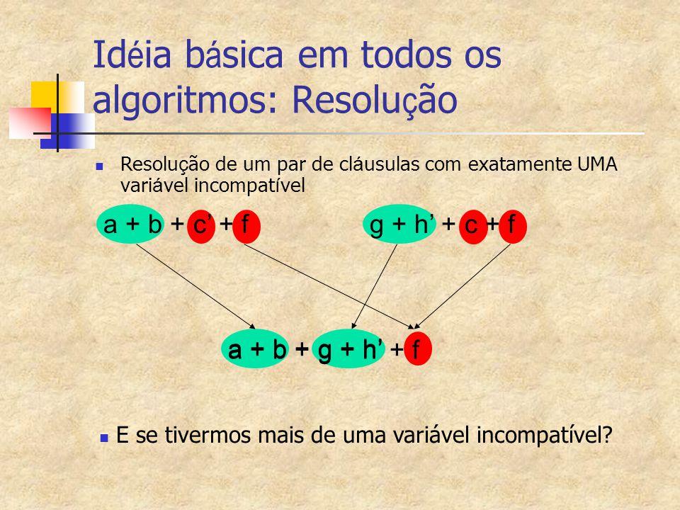 a + b + g + h' + f a + b + g + h' Id é ia b á sica em todos os algoritmos: Resolu ç ão Resolu ç ão de um par de cl á usulas com exatamente UMA vari á