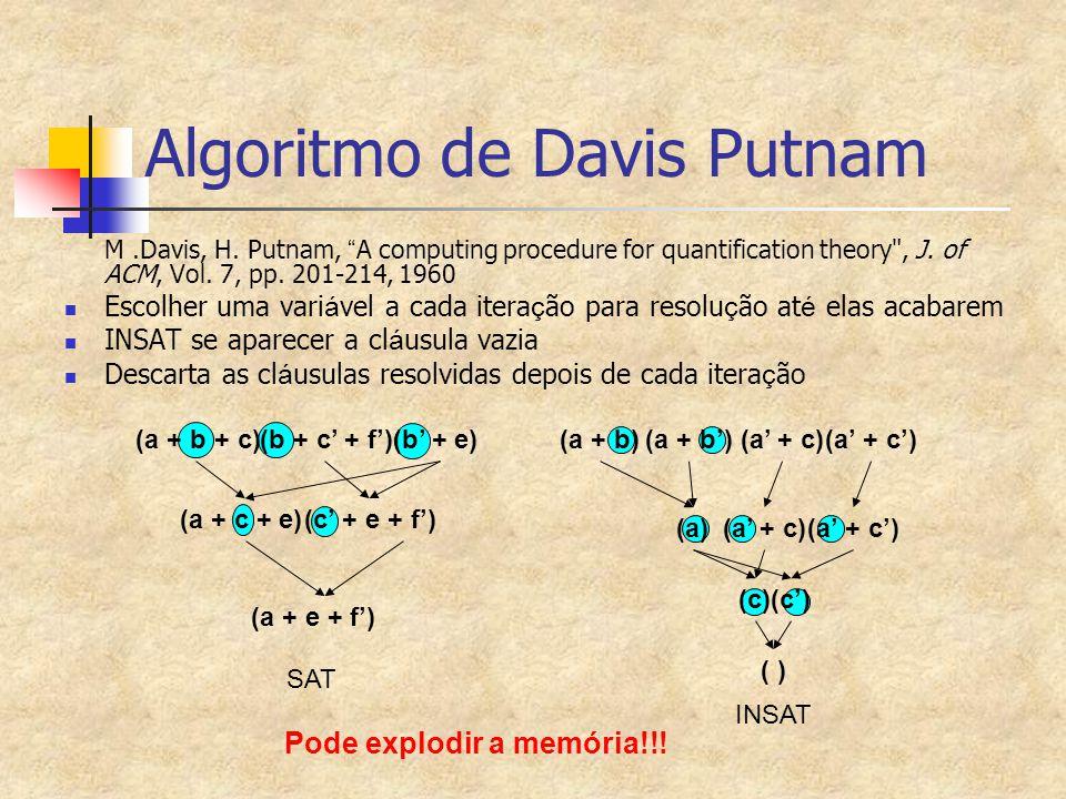 "(a + b)(a + b')(a' + c)(a' + c') Algoritmo de Davis Putnam M.Davis, H. Putnam, "" A computing procedure for quantification theory"