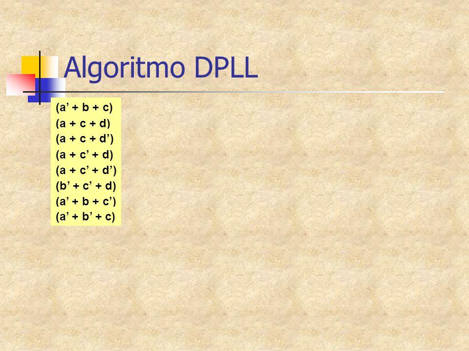 Algoritmo DPLL (a + c + d) (a + c + d') (a + c' + d) (a + c' + d') (a' + b + c) (b' + c' + d) (a' + b + c') (a' + b' + c)
