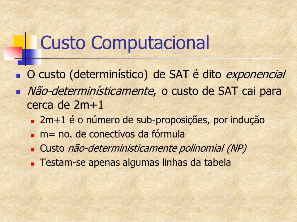 Custo Computacional O custo (determinístico) de SAT é dito exponencial Não-determinísticamente, o custo de SAT cai para cerca de 2m+1 2m+1 é o número