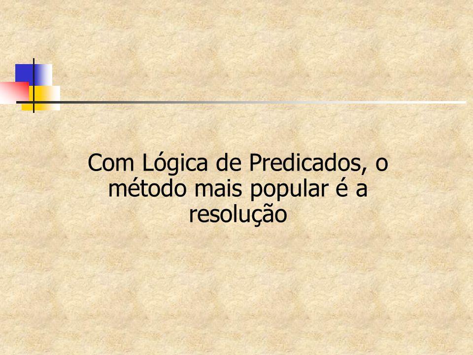 Com Lógica de Predicados, o método mais popular é a resolução