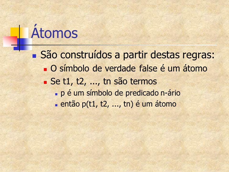 Átomos São construídos a partir destas regras: O símbolo de verdade false é um átomo Se t1, t2,..., tn são termos p é um símbolo de predicado n-ário e