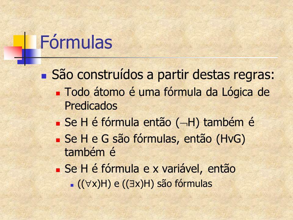 Fórmulas São construídos a partir destas regras: Todo átomo é uma fórmula da Lógica de Predicados Se H é fórmula então (  H) também é Se H e G são fó