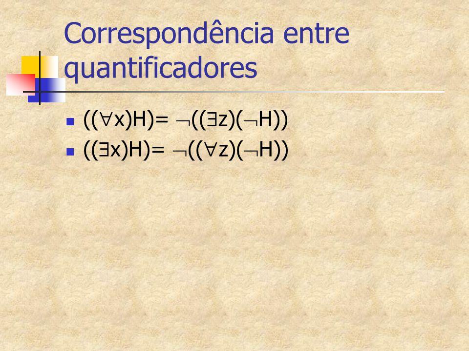 Correspondência entre quantificadores ((  x)H)=  ((  z)(  H)) ((  x)H)=  ((  z)(  H))