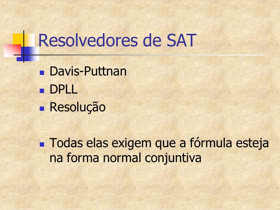 Resolvedores de SAT Davis-Puttnan DPLL Resolução Todas elas exigem que a fórmula esteja na forma normal conjuntiva