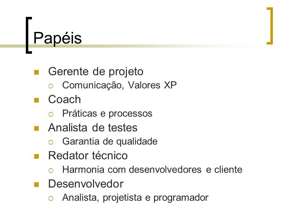 Papéis Gerente de projeto  Comunicação, Valores XP Coach  Práticas e processos Analista de testes  Garantia de qualidade Redator técnico  Harmonia com desenvolvedores e cliente Desenvolvedor  Analista, projetista e programador