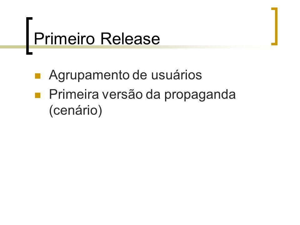 Primeiro Release Agrupamento de usuários Primeira versão da propaganda (cenário)