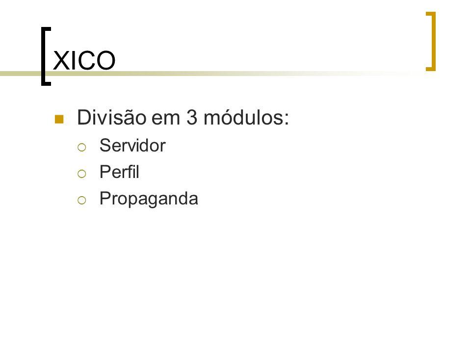 XICO Divisão em 3 módulos:  Servidor  Perfil  Propaganda