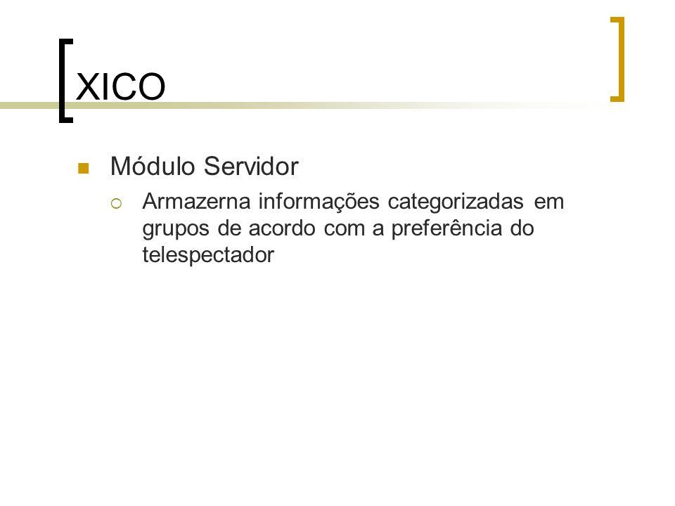 XICO Módulo Perfil  Seleciona as propagandas de acordo com o grupo em que o usuário está inserido, caracterizando dessa forma a modelagem de perfis