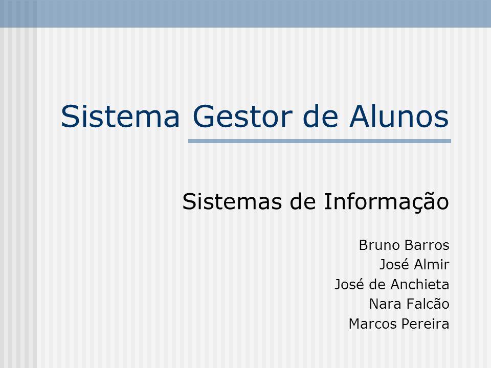 Sistema Gestor de Alunos Sistemas de Informação Bruno Barros José Almir José de Anchieta Nara Falcão Marcos Pereira
