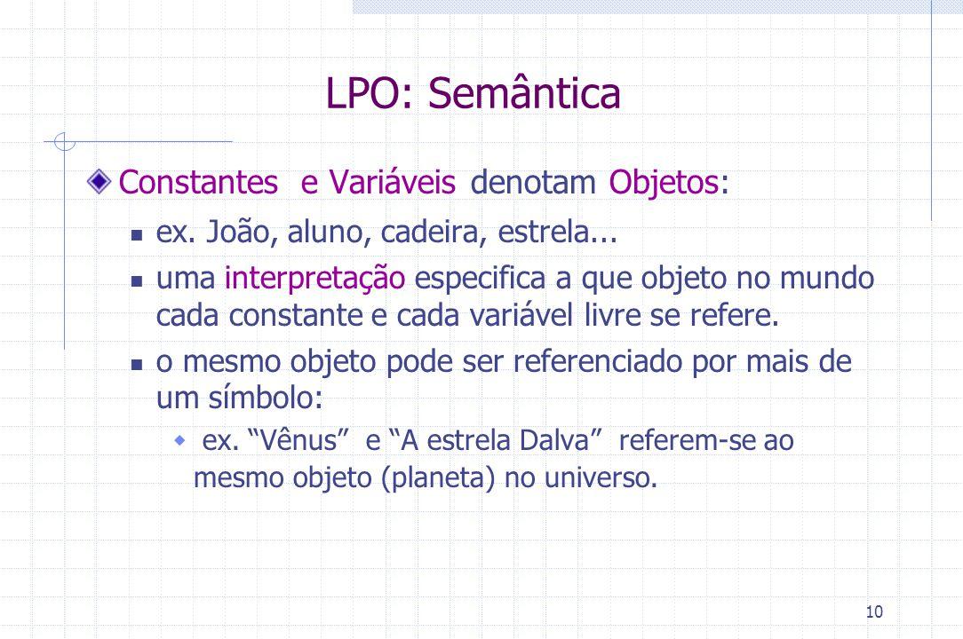 10 LPO: Semântica Constantes e Variáveis denotam Objetos: ex. João, aluno, cadeira, estrela... uma interpretação especifica a que objeto no mundo cada