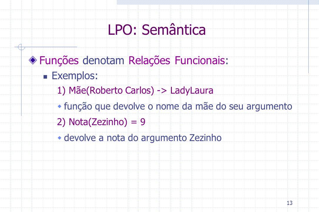 13 LPO: Semântica Funções denotam Relações Funcionais: Exemplos: 1) Mãe(Roberto Carlos) -> LadyLaura  função que devolve o nome da mãe do seu argumen
