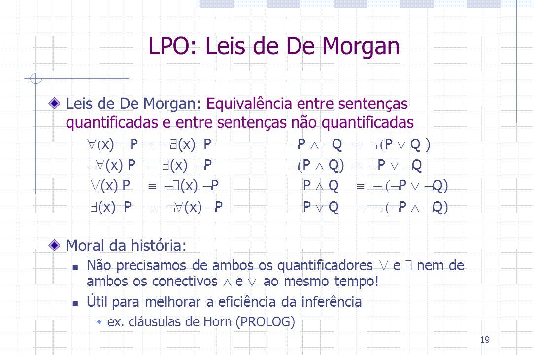 19 Leis de De Morgan: Equivalência entre sentenças quantificadas e entre sentenças não quantificadas  x)  P  (x)  P  P   Q  P 