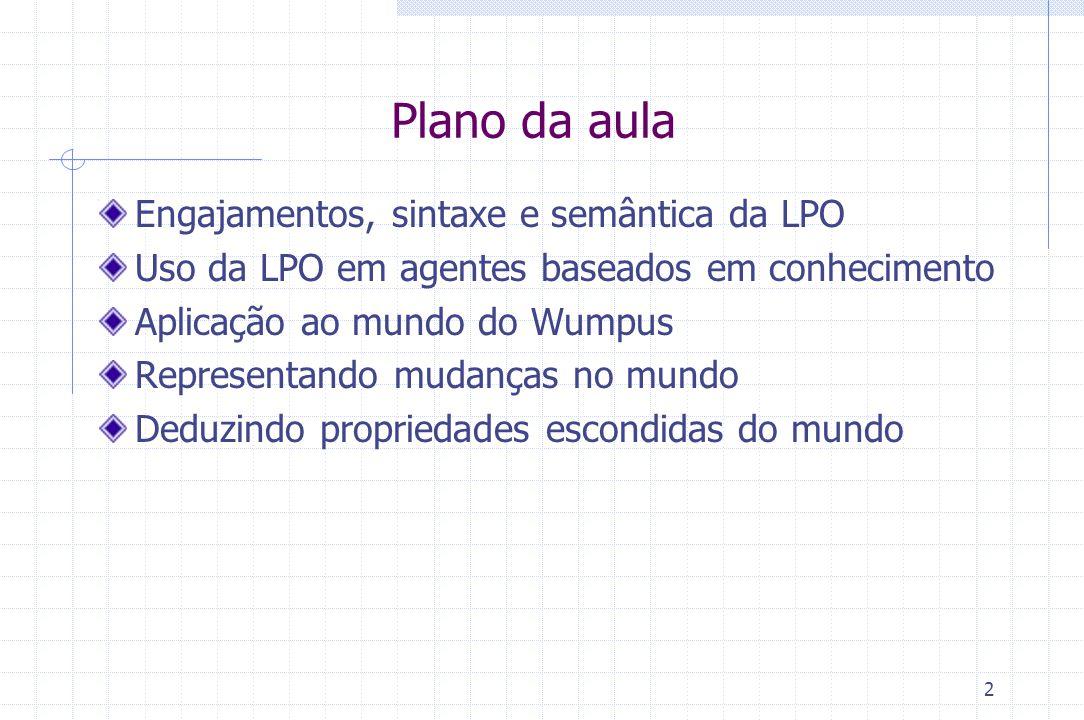 2 Plano da aula Engajamentos, sintaxe e semântica da LPO Uso da LPO em agentes baseados em conhecimento Aplicação ao mundo do Wumpus Representando mud