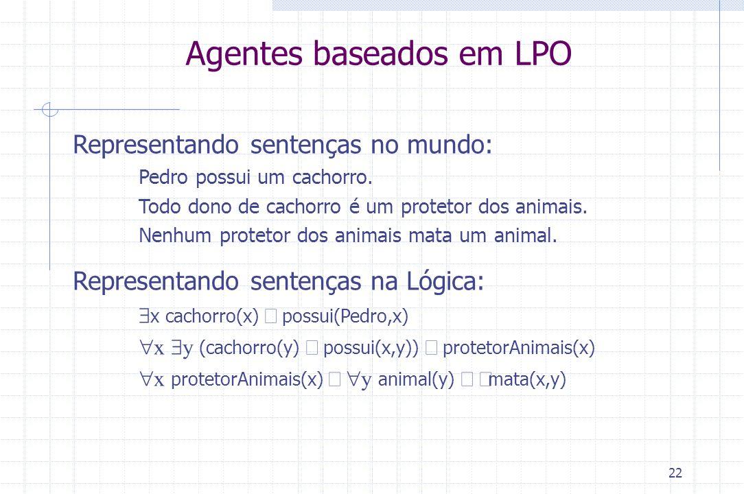 22 Agentes baseados em LPO Representando sentenças no mundo: Pedro possui um cachorro. Todo dono de cachorro é um protetor dos animais. Nenhum proteto