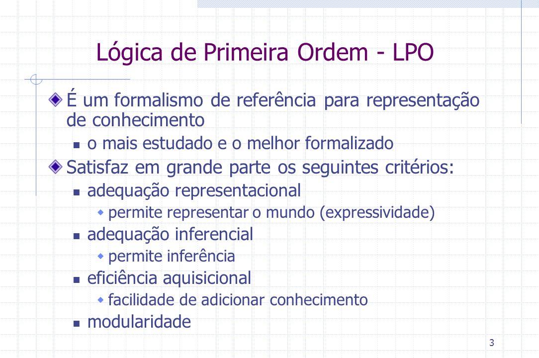 3 Lógica de Primeira Ordem - LPO É um formalismo de referência para representação de conhecimento o mais estudado e o melhor formalizado Satisfaz em g