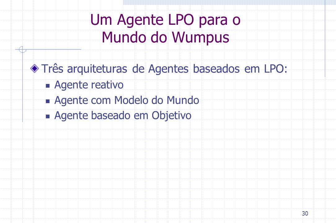 30 Um Agente LPO para o Mundo do Wumpus Três arquiteturas de Agentes baseados em LPO: Agente reativo Agente com Modelo do Mundo Agente baseado em Obje