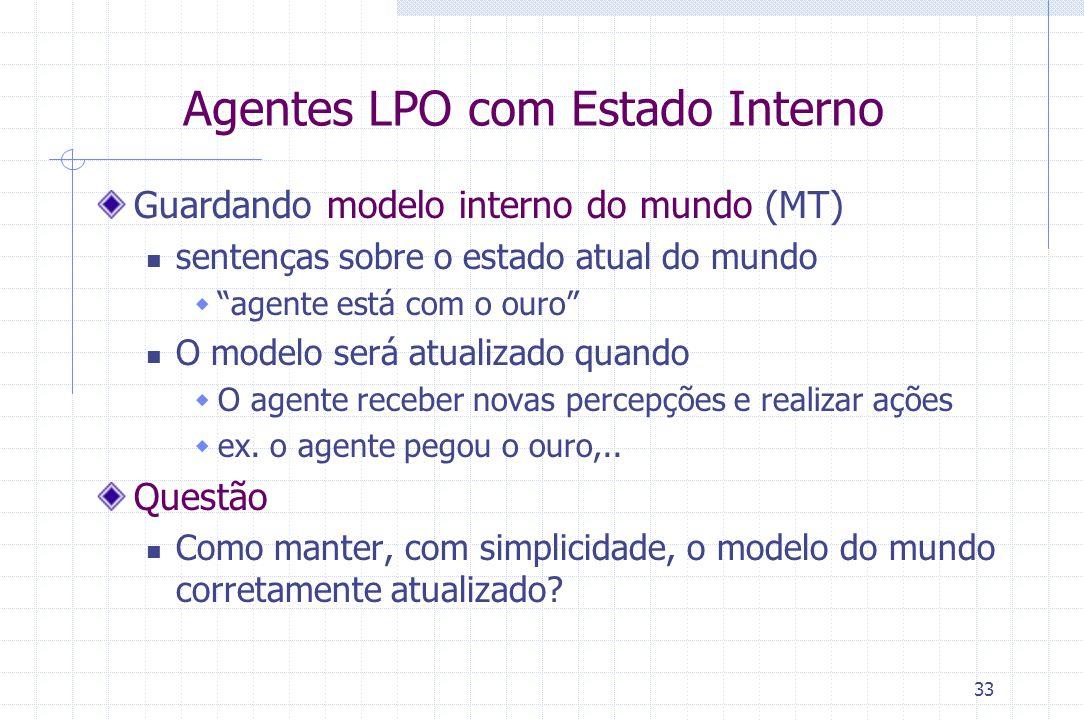 """33 Agentes LPO com Estado Interno Guardando modelo interno do mundo (MT) sentenças sobre o estado atual do mundo  """"agente está com o ouro"""" O modelo s"""