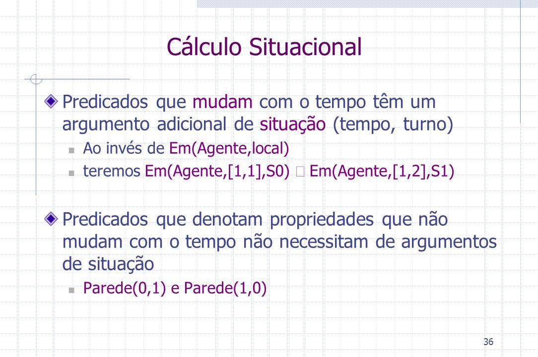 36 Cálculo Situacional Predicados que mudam com o tempo têm um argumento adicional de situação (tempo, turno) Ao invés de Em(Agente,local) teremos Em(