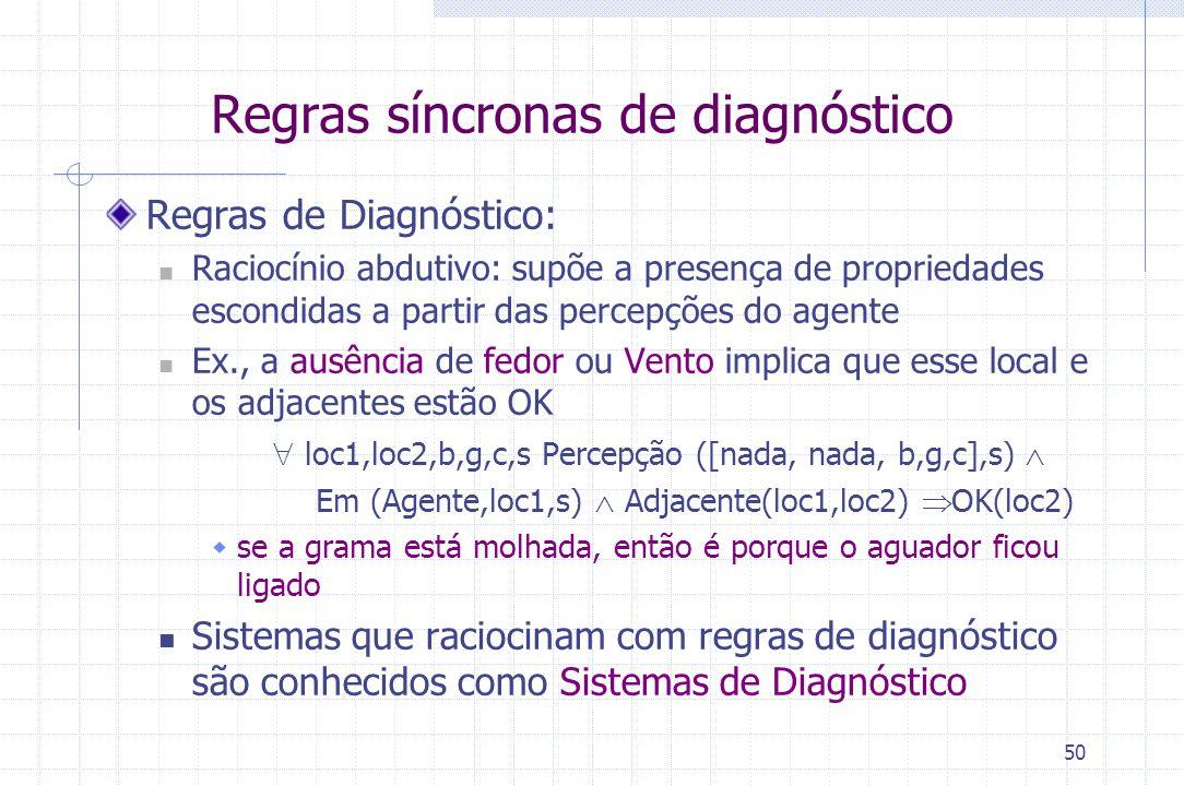 50 Regras de Diagnóstico: Raciocínio abdutivo: supõe a presença de propriedades escondidas a partir das percepções do agente Ex., a ausência de fedor