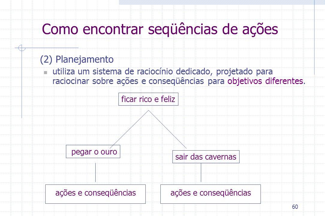 60 (2) Planejamento utiliza um sistema de raciocínio dedicado, projetado para raciocinar sobre ações e conseqüências para objetivos diferentes. ficar