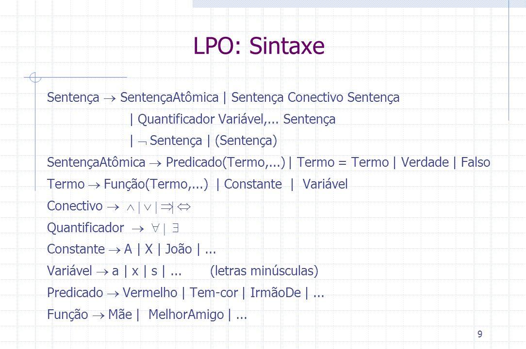 9 LPO: Sintaxe Sentença  SentençaAtômica | Sentença Conectivo Sentença | Quantificador Variável,... Sentença |  Sentença | (Sentença) SentençaAtômic