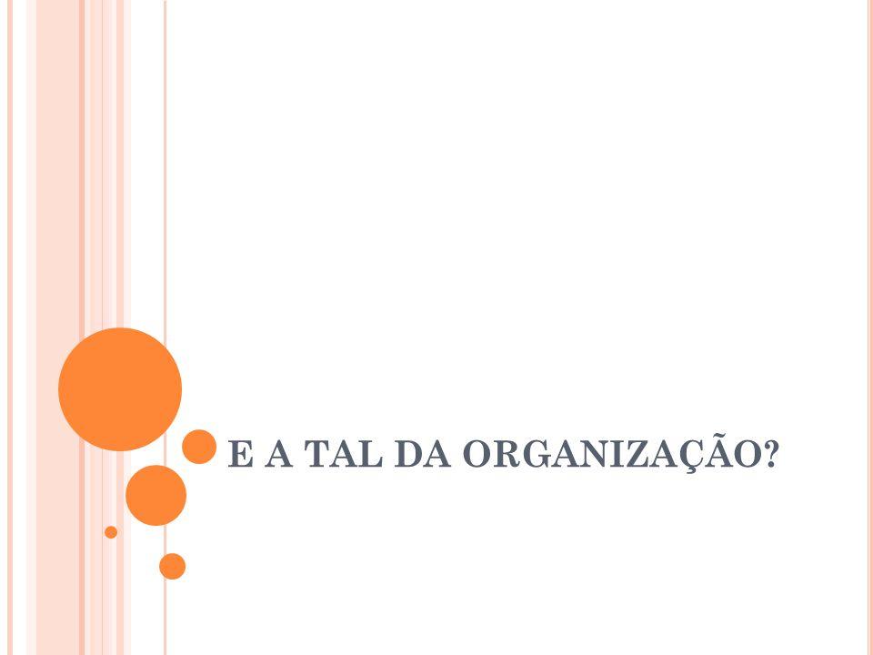 NOÇÃO INTUITIVA DE ORGANIZAÇÃO [HUBNER 03] No nosso dia-a-dia, temos vários exemplos de organização Uma mesa de trabalho Um formigueiro Um time de futebol Perguntas: O que é organização Quais os tipos de organização Por que organizar?