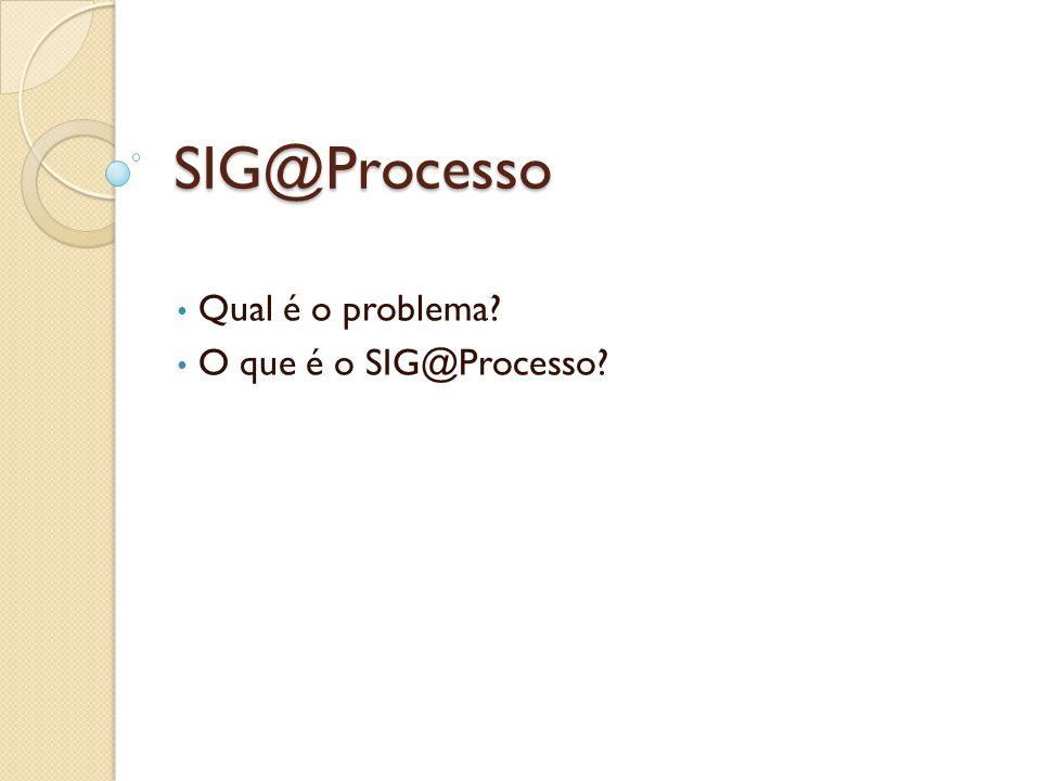 SIG@Processo Qual é o problema? O que é o SIG@Processo?
