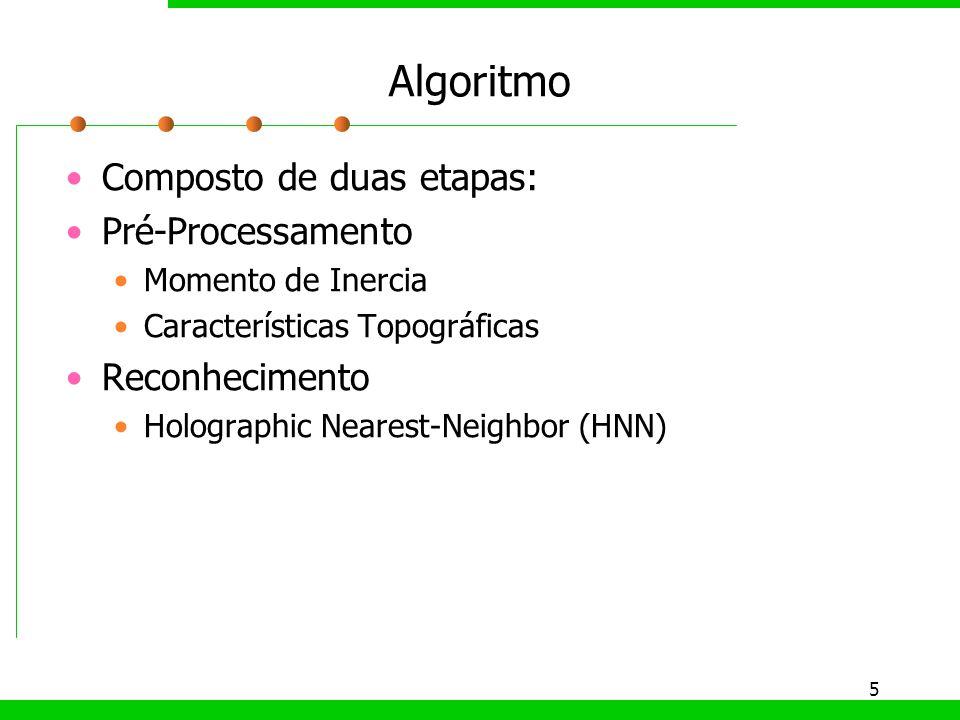5 Algoritmo Composto de duas etapas: Pré-Processamento Momento de Inercia Características Topográficas Reconhecimento Holographic Nearest-Neighbor (HN