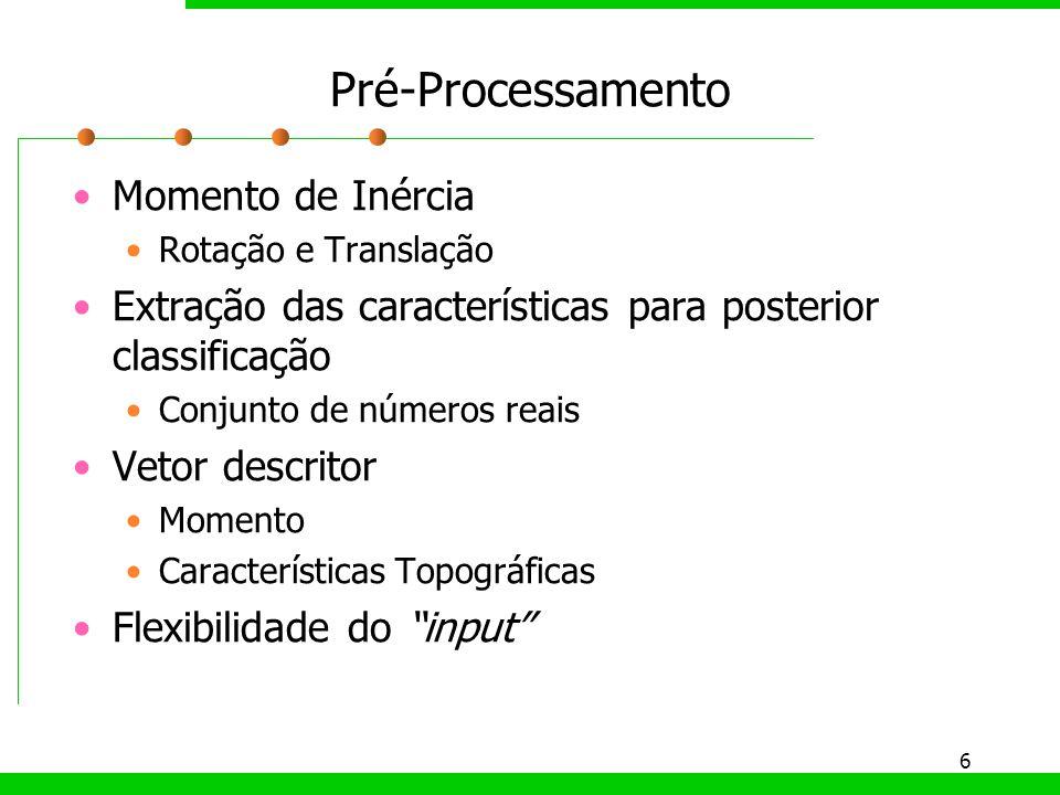 6 Pré-Processamento Momento de Inércia Rotação e Translação Extração das características para posterior classificação Conjunto de números reais Vetor